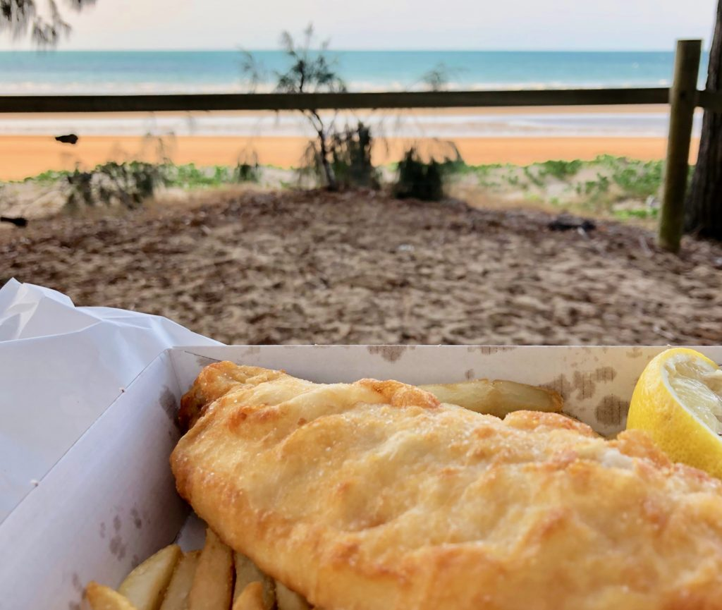 オーストラリア,ハービーベイ,フィッシュアンドチップス,fish&chips,フィッシュ&チップス,美味しい,食事,安い,旅,バックパッカー