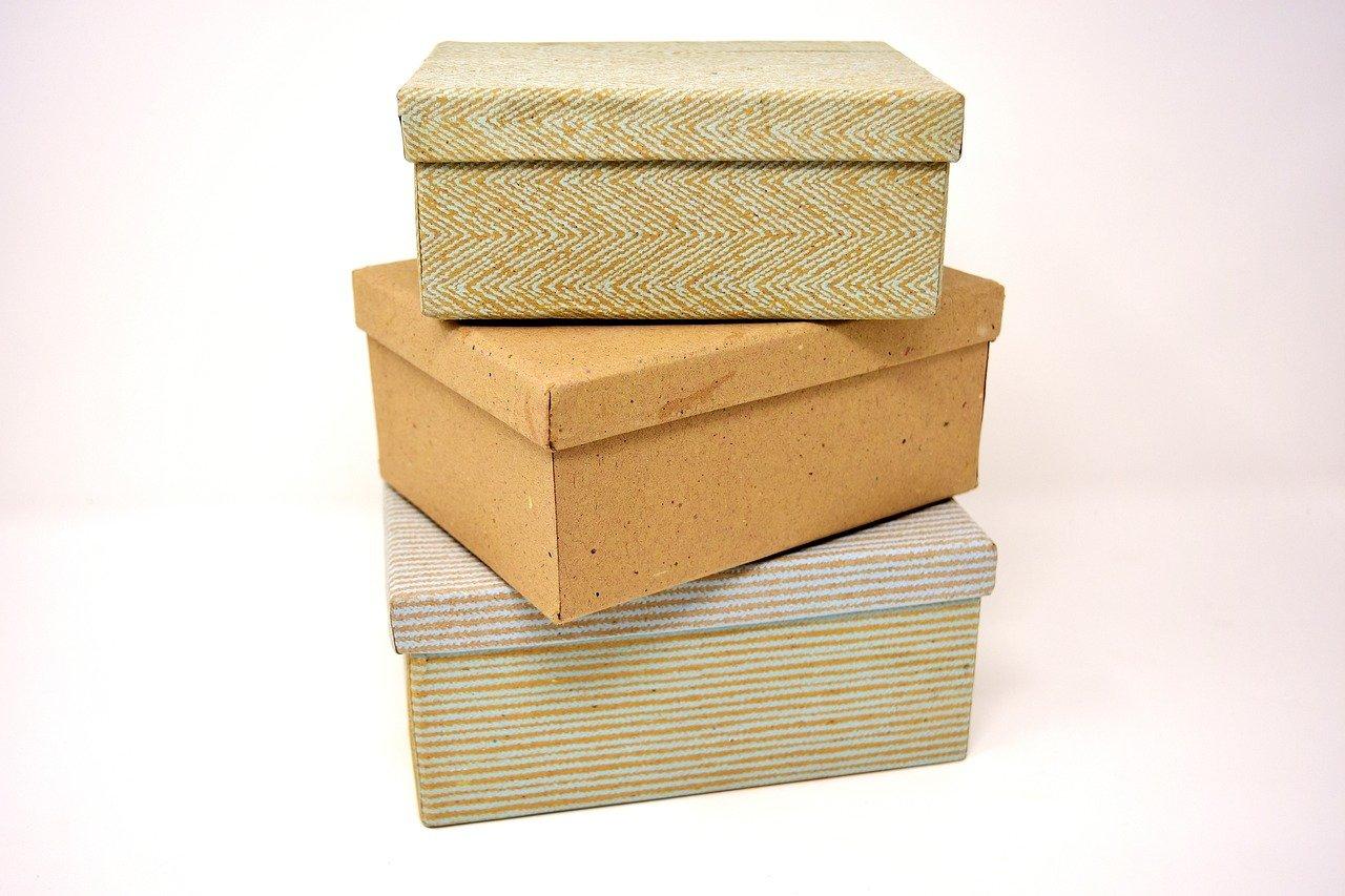 段差のある箱をそのまま利用して包む方法